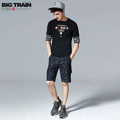BigTrain 加大吸濕快乾黑灰花草短褲-男-黑色