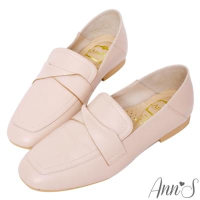 Ann'S超柔軟綿羊皮-素面扭結撞色車線兩穿穆勒平底紳士鞋-粉