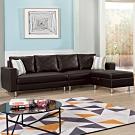 H&D 荷蘭L型黑色皮沙發