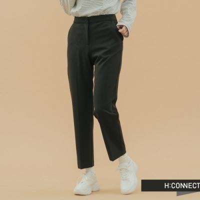 H:CONNECT 韓國品牌 女裝 - 微鬆緊直筒西裝褲 - 黑