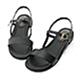 D+AF 自信漫步.一字寬版繫帶平底涼鞋*黑 product thumbnail 1
