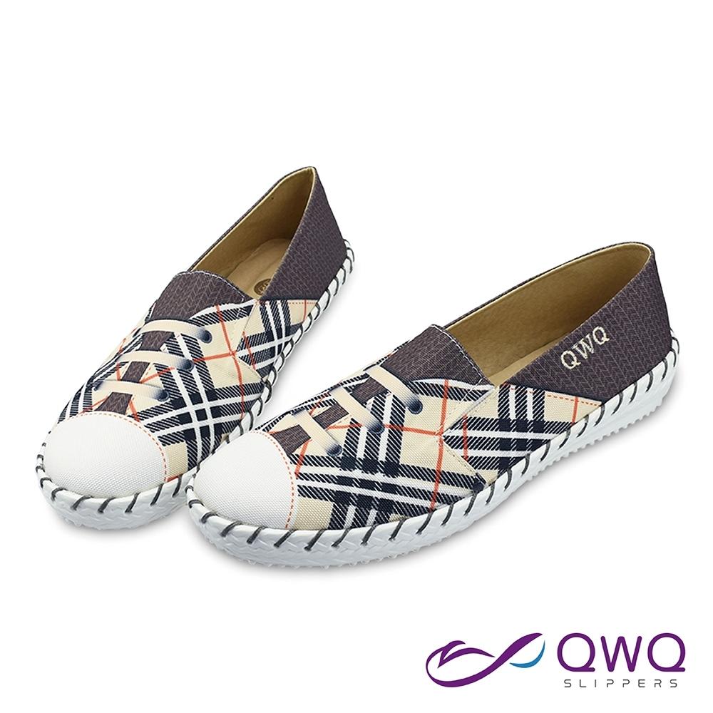 女生懶人鞋輕量休閒鞋-防潑水彩繪氣柔軟止滑-賽寧格紋-米色