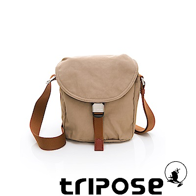 tripose MEMENTO系列微皺尼龍輕量防潑水郵差包 奶茶色