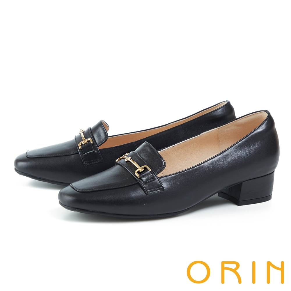 ORIN 氣質馬銜釦真皮低跟 女 樂福鞋 黑色