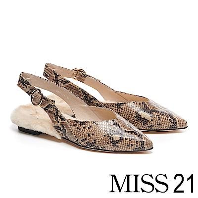 低跟鞋 MISS 21 時髦高尚蛇紋印花真皮尖頭後繫帶毛毛低跟鞋-蛇紋