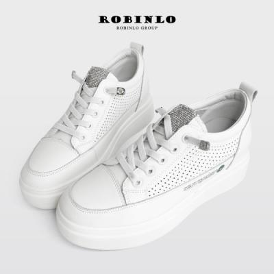Robinlo超美質感水鑽小雛菊真皮厚底小白鞋 綠
