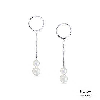 Rshow Minimal 幾何珍珠綴圈垂墜耳環