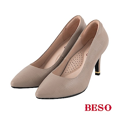 BESO 低調格紋 時尚格紋壓紋跟鞋~灰