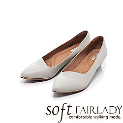 Fair Lady Soft芯太軟 尖頭素色時尚千鳥格紋楔型鞋 經典灰