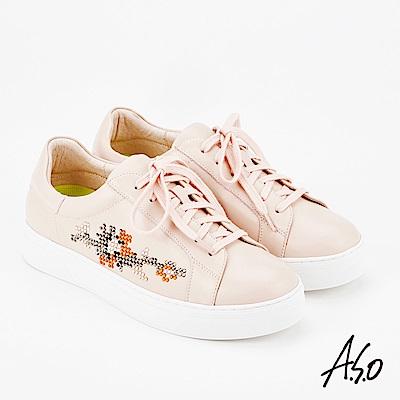 A.S.O 超彈力 全真皮水鑽綁帶休閒鞋 粉