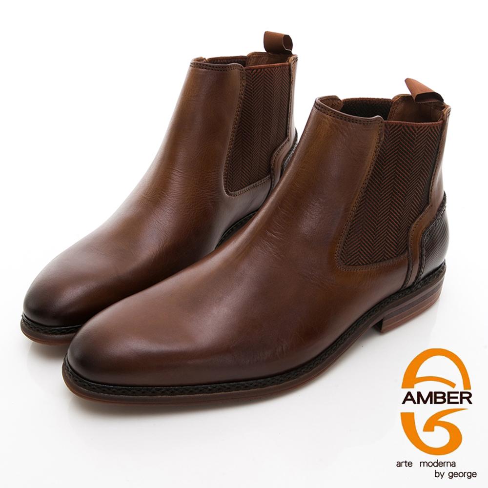 【GEORGE 喬治皮鞋】Amber 都會時尚 直套式尖頭低跟踝靴-棕色