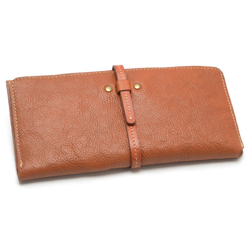 2R 頭層植鞣牛皮 Craftsman 細帶手感長夾 質感棕