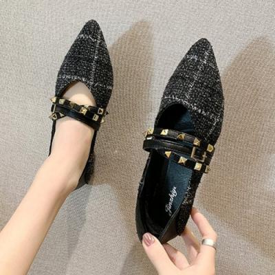 KEITH-WILL時尚鞋館 賣瘋了格紋鉚釘造型尖頭鞋-黑