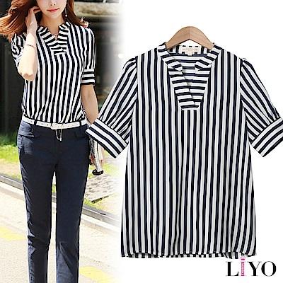 襯衫V型立領條紋OL顯瘦透氣暢銷襯衫LIYO理優E825024 S-XL
