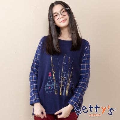 betty's貝蒂思 刺繡印花拼接格紋上衣(深藍)