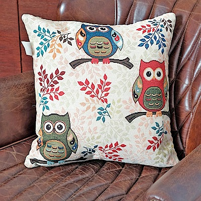 凱蕾絲帝-居家沙發車用-緹花方形抱枕/靠枕(45CM)-三隻貓頭鷹(二入)