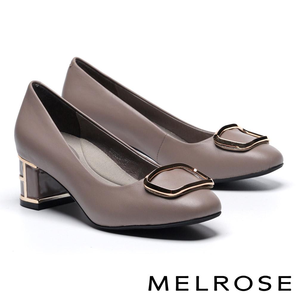 高跟鞋 MELROSE 簡約大方金屬飾釦特色鞋跟羊皮高跟鞋-可可