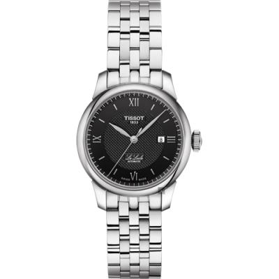 TISSOT天梭 Le Locle 力洛克羅馬機械女錶-黑x銀/29mm