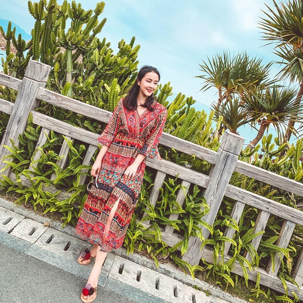 V領民族風圖騰印花高腰洋裝-S-XL(共二色)-維拉森林 @ Y!購物