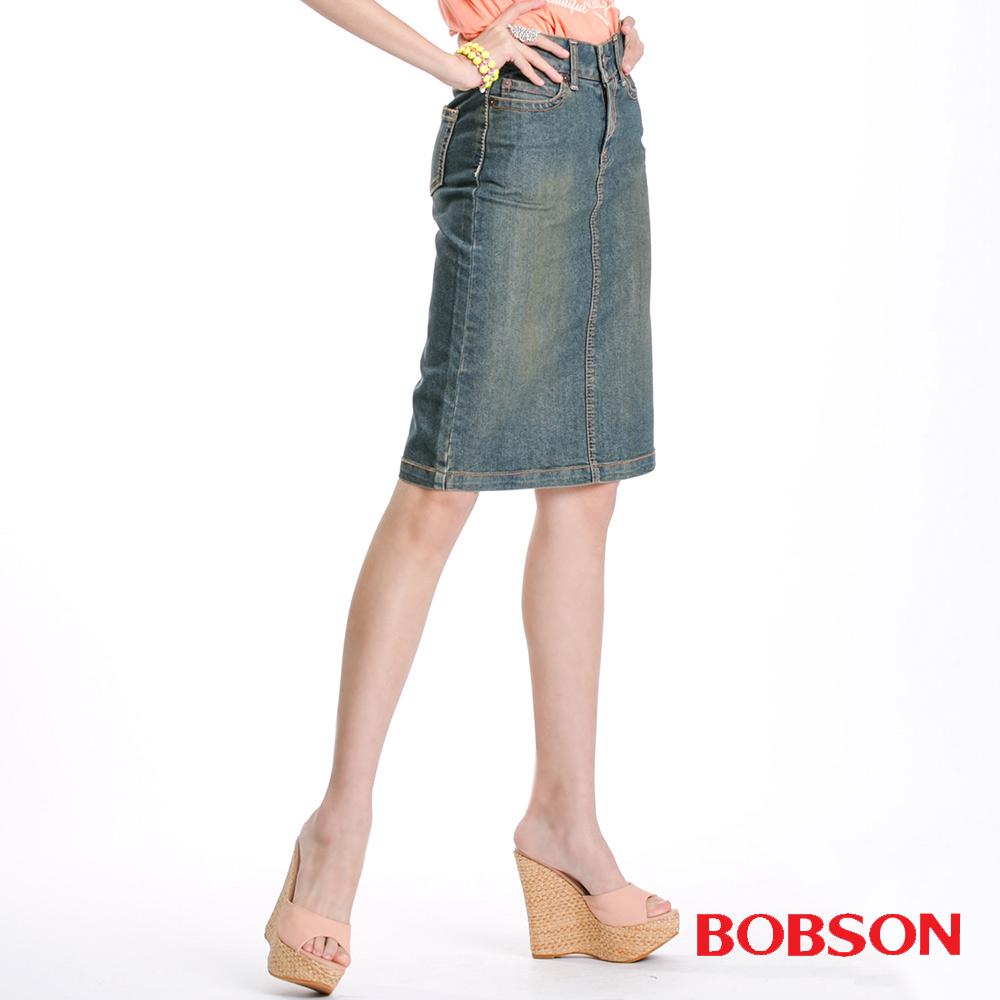 BOBSON 女款小尻革命伸縮牛仔短裙