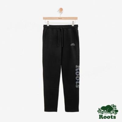 ROOTS 女裝- 反光LOGO刷毛休閒棉褲-黑色