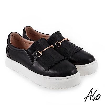 A.S.O 時尚甜心 全真皮流蘇飾釦休閒鞋 黑