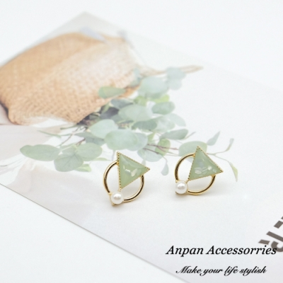 【ANPAN愛扮】韓東大門簡約泫雅小清新風925銀針耳釘式耳環(粉白綠可選)