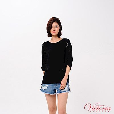 Victoria 拼接袖變化七分袖T-女-黑色