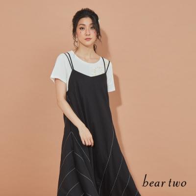 beartwo-細肩帶幾何剪裁洋裝-黑