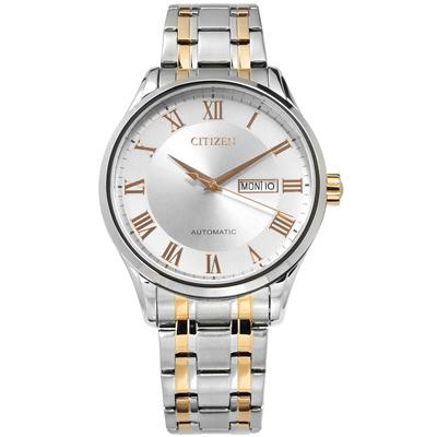 CITIZEN 機械錶 自動上鍊 日期星期 不鏽鋼手錶-銀x鍍香檳金/41mm