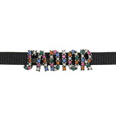 Christian Dior 彩虹JADIOR鑲鑽造型頸鍊(黑/銀)