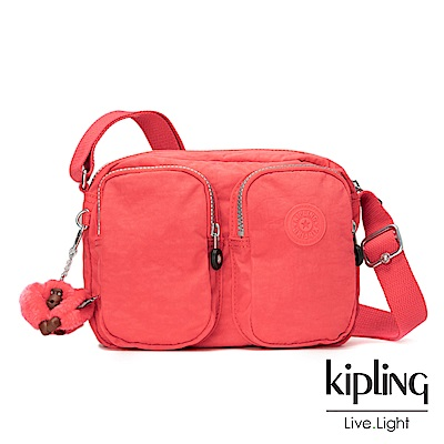 Kipling螢光澄素面雙層側背包-PATTI