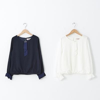 【CUMAR】真珠領巾設計條紋上衣-襯衫(二色/版型適中)