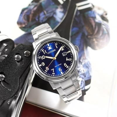 CITIZEN 光動能 潮流時尚 防水 日期 不鏽鋼手錶-藍色/42mm