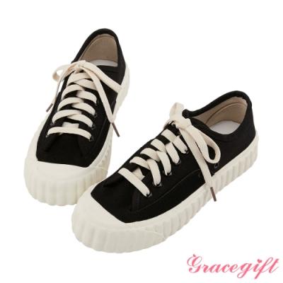 Grace gift-素色圓頭綁帶帆布休閒鞋 黑