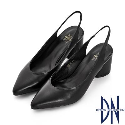 DN 法式時尚 真皮素面後拉帶粗跟涼鞋-黑