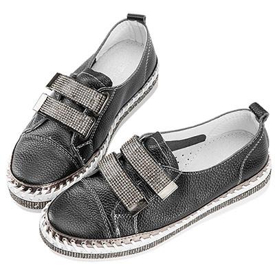 Robinlo & Co.魔鬼氈鑲鑽牛皮厚底休閒鞋 黑