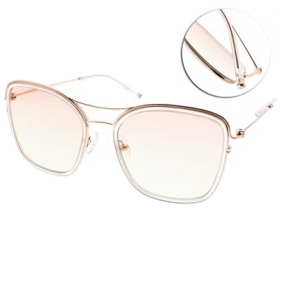 CARIN太陽眼鏡 簍空雙槓款/透明玫瑰金-漸層粉綠鏡片 #SUNUP C1