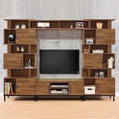 時尚屋  伊萊9.3尺電視櫃組 寬279x深40x高196cm