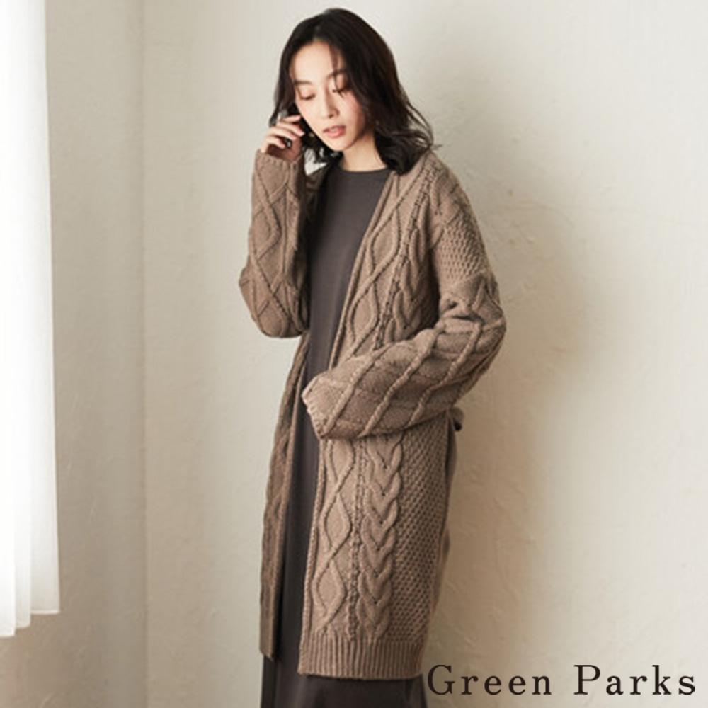 Green Parks 交織麻花綁帶設計針織長版罩衫