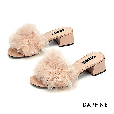 達芙妮DAPHNE 涼鞋-浪漫蕾絲花朵粗跟涼鞋-杏色