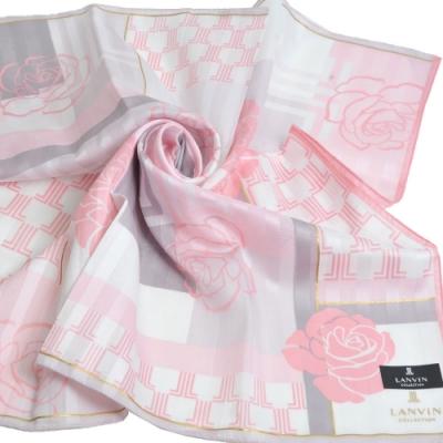 LANVIN collection 優雅玫瑰LL圖騰字母LOGO大帕領巾(粉紅邊)