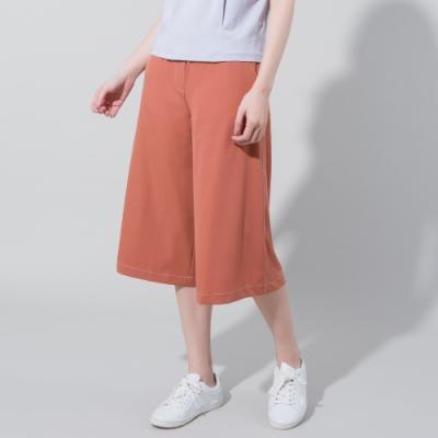 獨身貴族 純色壓線高彈性七分寬褲(3色)