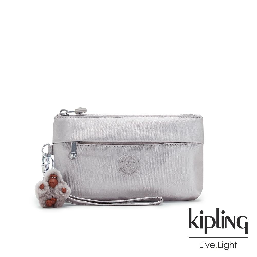 Kipling 知性光澤銀灰手拿配件包-NIYLAH