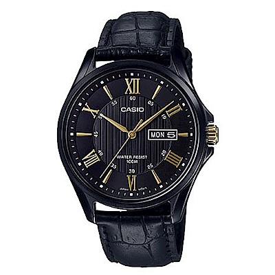 CASIO 高雅時尚經典黑混搭羅馬金字休閒皮帶錶(MTP-1384BL-1A)/47mm