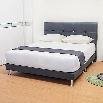 Bernice-貝塔絲5尺灰色皮革雙人床架(床頭片+床底)(不含床墊)