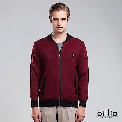 歐洲貴族 oillio 羊毛毛衣外套 素面簡約 保暖首選 紅色