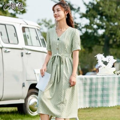 初色  格紋V領綁帶連身裙-綠格紋-(M-2XL可選)