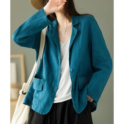 亞麻西裝上衣設計感小眾長袖外套二色可選-設計所在
