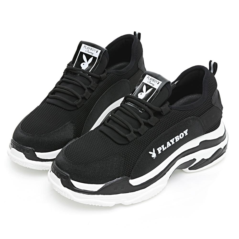 PLAYBOY夢幻美腿 兔兔老爹鞋-黑白-Y6768C1